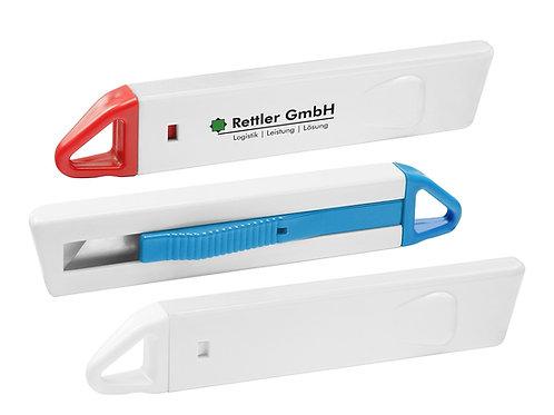 Cuttermesser in weiß mit farbigen Applikationen und bedruckbar