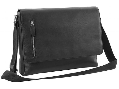 schwarze Eurostyle Überschlagtasche aus Leder mit Schultergurt von vorne