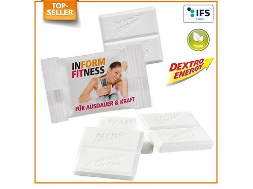 Dextro Energy Würfel unverpackt und verpackt mit Druck Inform Fitness
