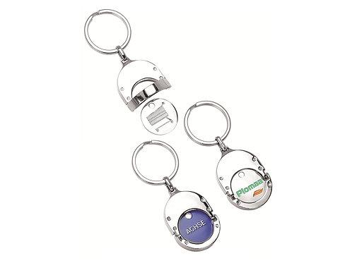 drei Schlüsselanhäner aus Metall mit bedrucktem Einkaufswagenchip