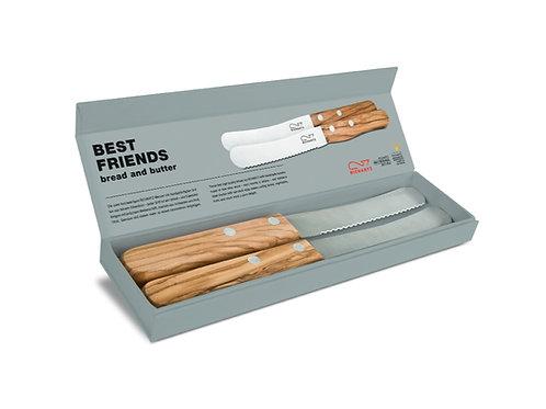 Messer Duo, Griffe Olivenholz in einer Geschenkverpackung