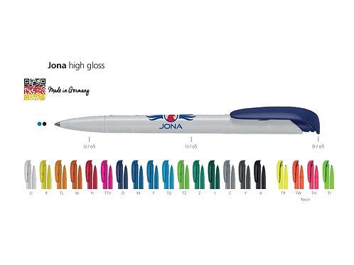 weißer Kunststoffkugelschreiber mit verschieden farbenen Clips Beschriftung Jona von Uma