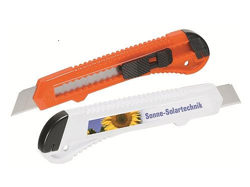 Zwei Cuttermesser in orange und weiß mit Druck