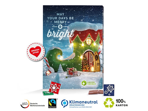 Adventskalender mit Schokolade und Logos Fairtrade und Klimaneutral