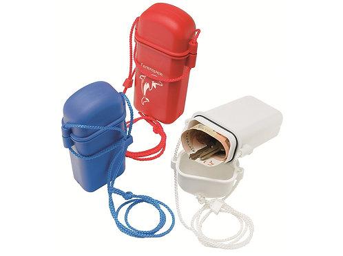 Kunststoff Schwimmbox mit Kordel in blau, weiß und rot