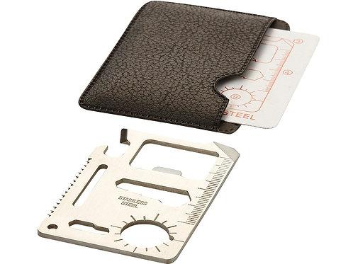 kleine werkzeugkarte aus metall im schwarzem etui