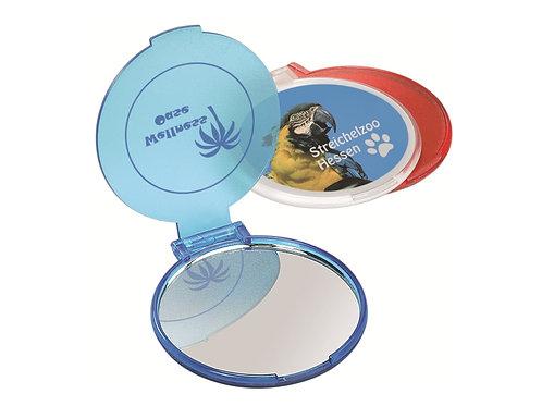 runder Taschenspiegel aufklappbar in Blau und Rot