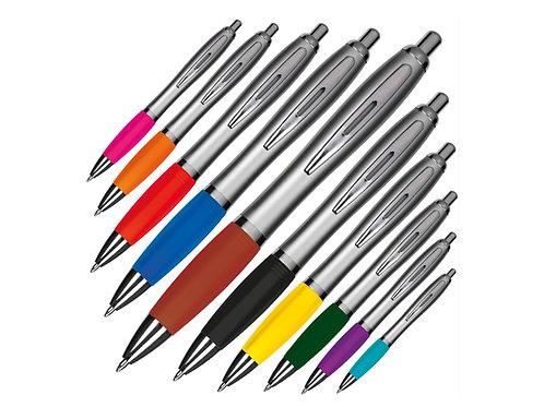 10 Kunststoff Kugelschreiber mit verschieden farbiger Griffzone