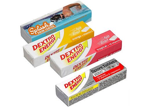 vier Dextro Energy Stangen mit Bedruckung