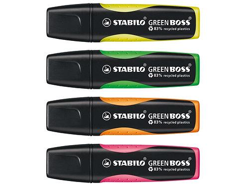 Textmarker von Stabilo in gelb, grün, orange und prink