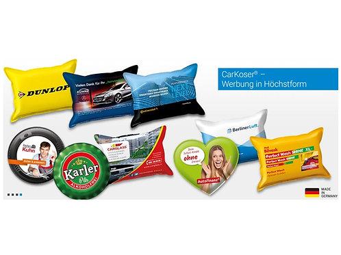 Autoschwamm in verschiedenen Formen allover bedruckt mit Firmenwerbung