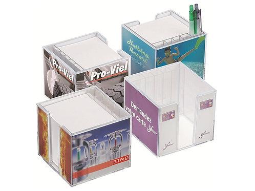 vier Zettelboxen inklusive Papier mit Stifteköcher und Stiften
