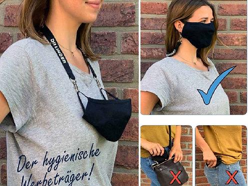 drei Fotos von Frau mit Maskenband für Mund-Nasenmaske