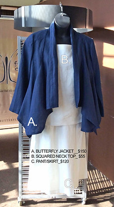 BUTTERFLY JACKET...PANT/SKIRT...TOP - SQUARE NECK
