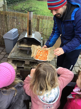 Outdoor cooking at Arbor Green Nursery
