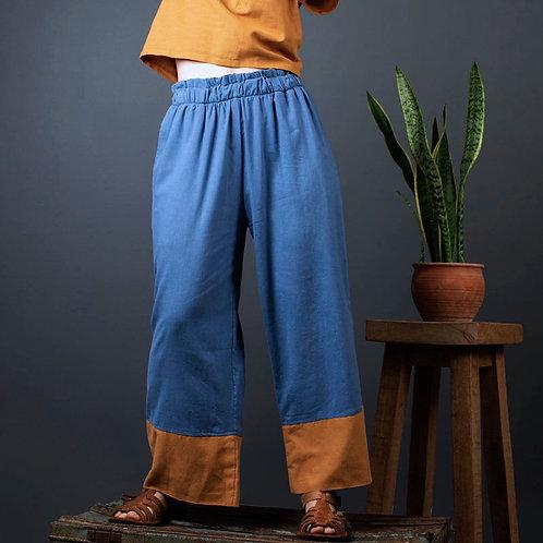 Julia Joy Trousers   Hemp Linen   Ocean & Turmeric