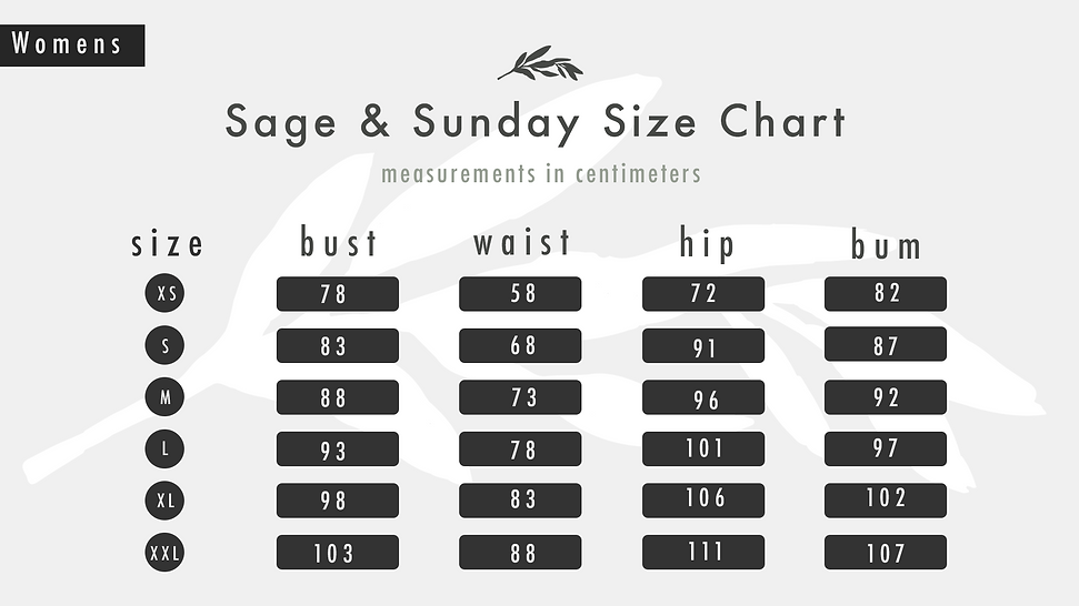 Clothing Size Chart Guide for Women