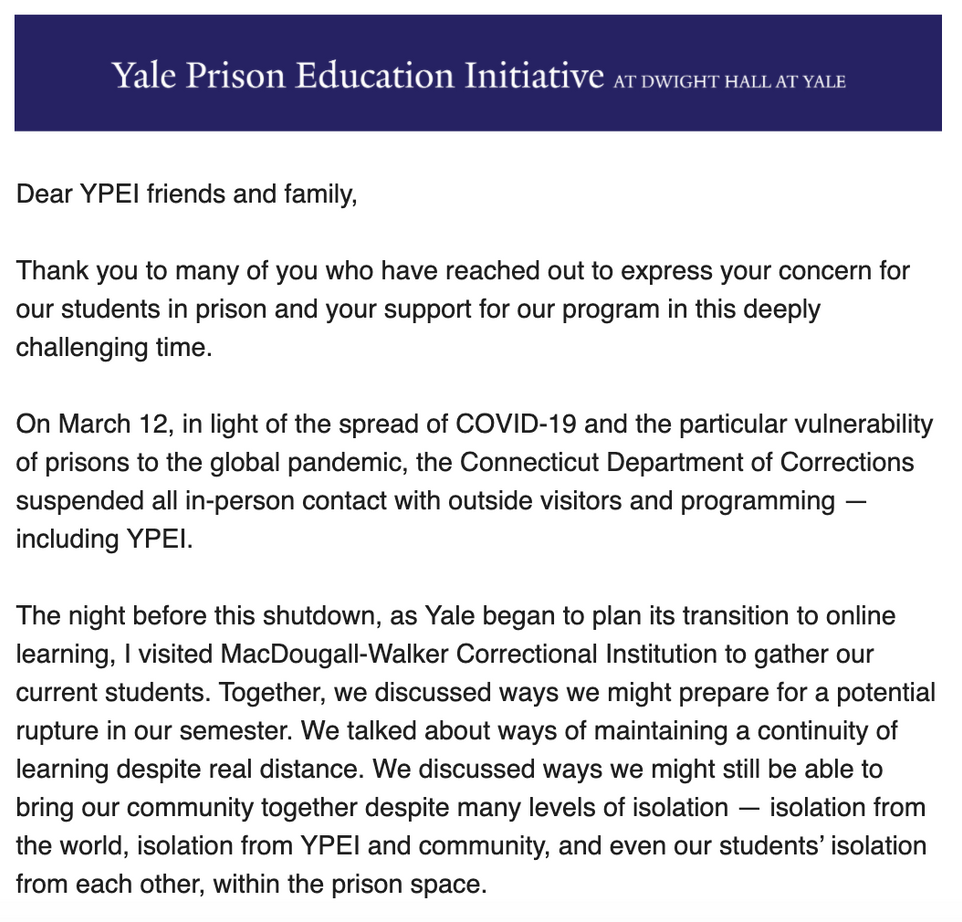A COVID-19 Update from YPEI to our Supporters