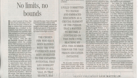 Incarcerated YPEI Students Make History in the Yale Daily News