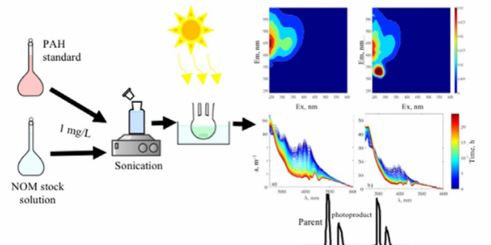 Combined fluorescent measurements, parallel factor analysis and GC-mass spectrometry.