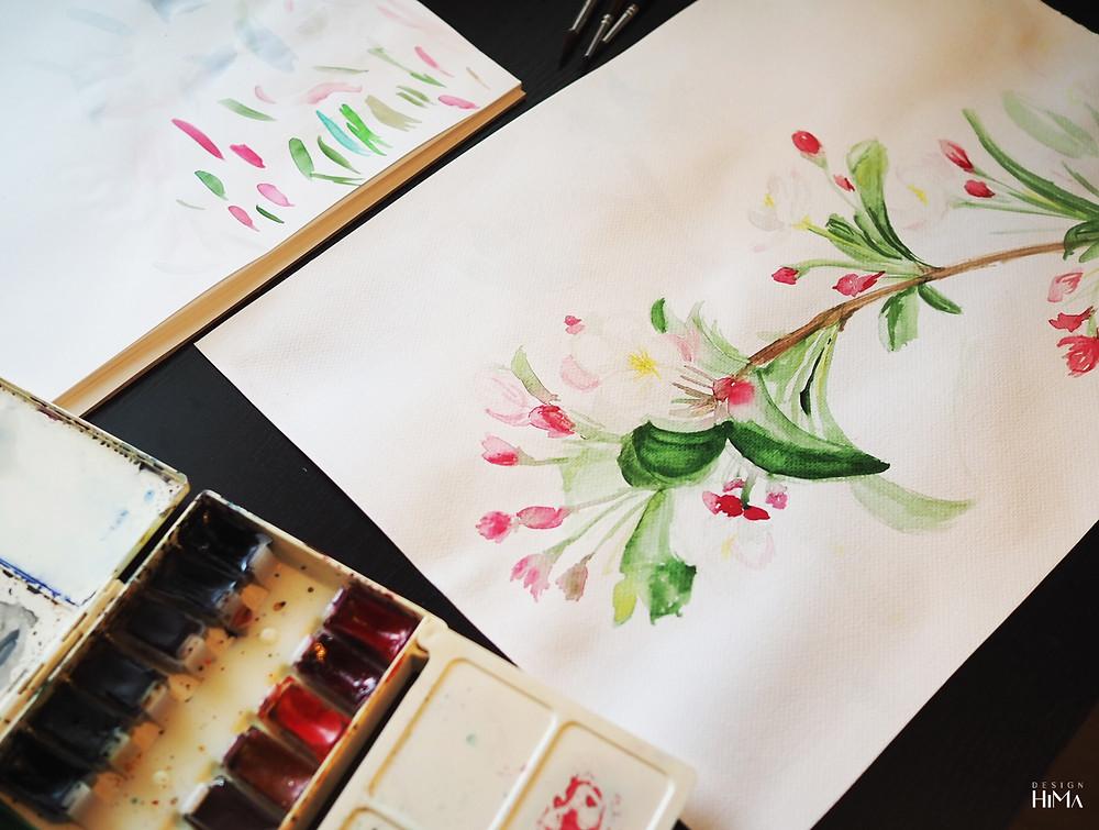 Omenankukka akvarelli
