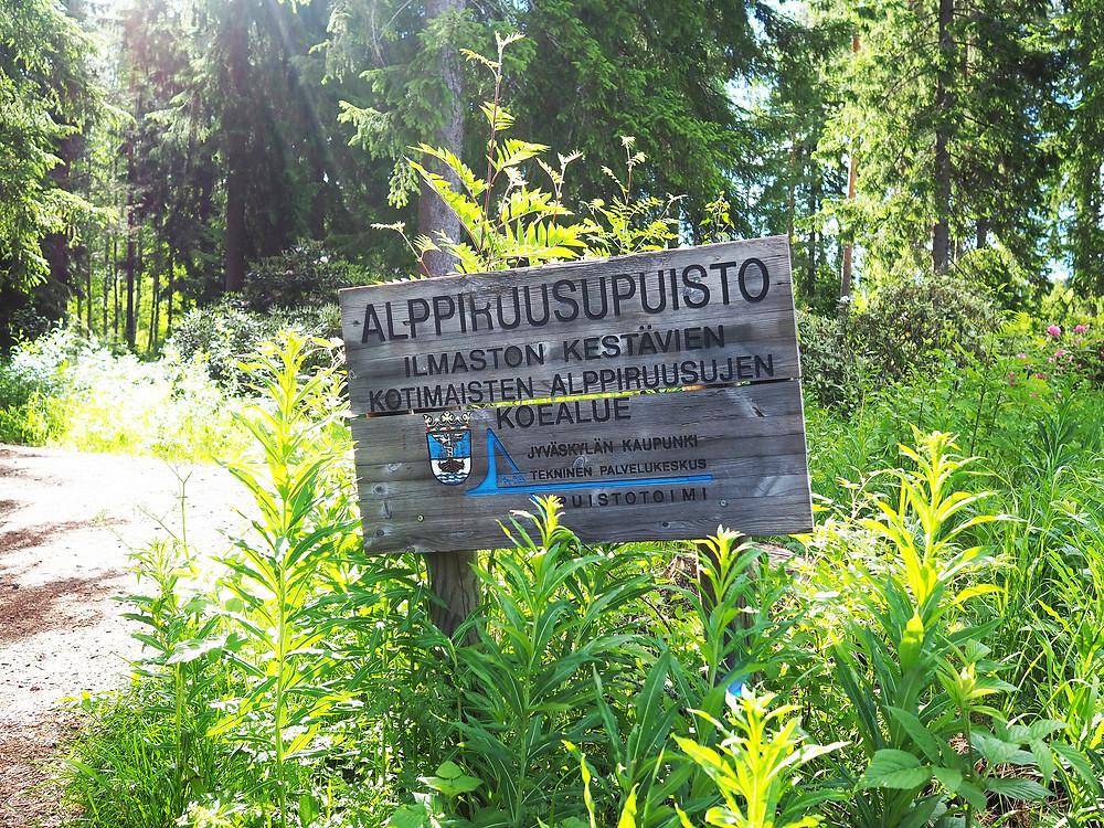 Jyväskylän alppiruusupuisto kyltti