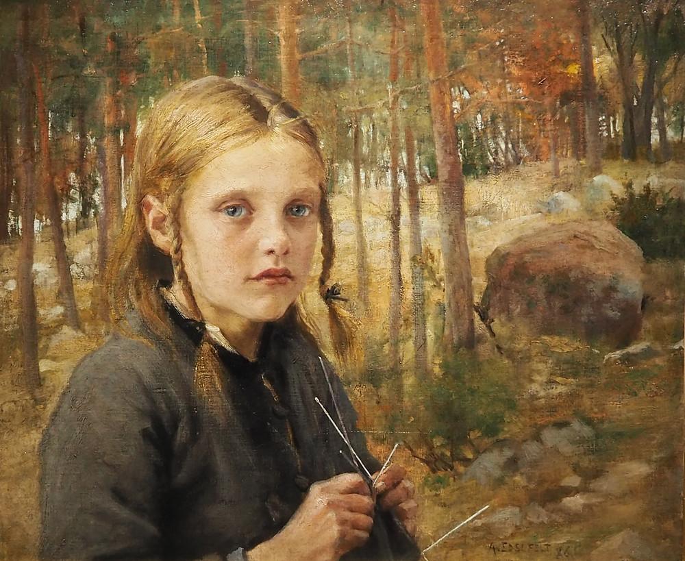 Albert Edelfelt Sukkaa kutova tyttö