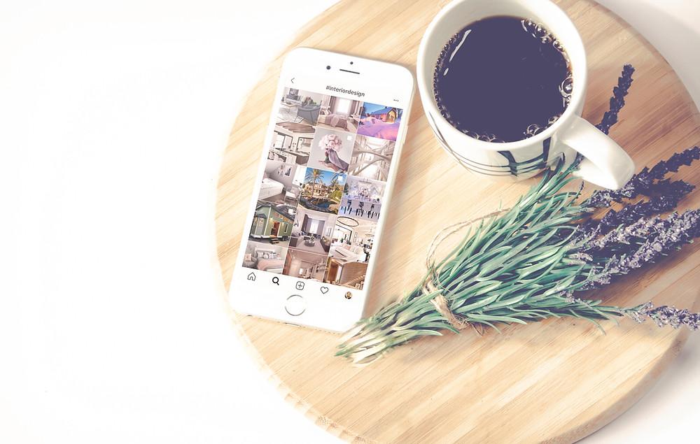 Instagram, iphone ja kahvi