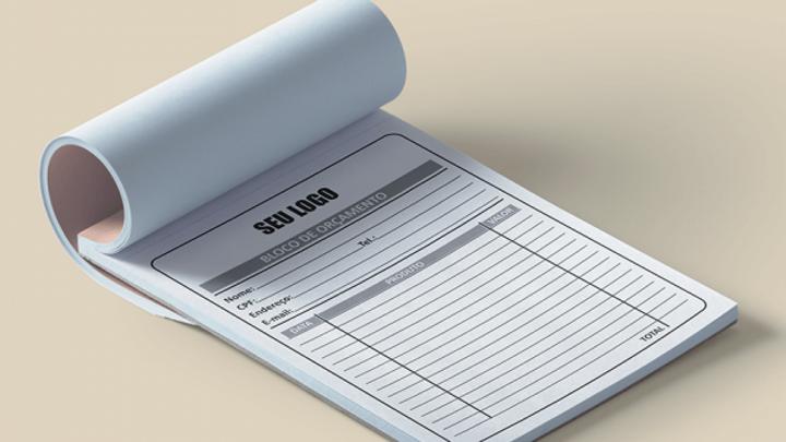 Bloco/nota não fiscal personalizado