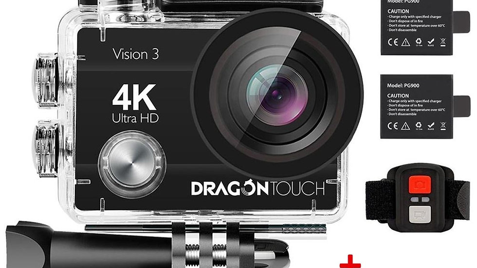 Dragon Touch 4K Action Camera 16MP Vision 3 Underwater Waterproof Camera 170 °