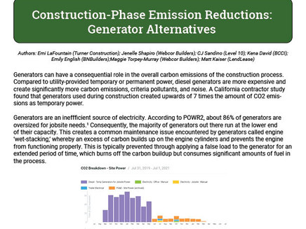 Construction-Phase Emission Reductions: Generator Alternatives