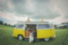 Bride and Groom vintage campervan