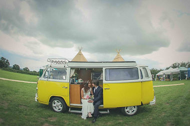 Bride and Groom vintage campervan