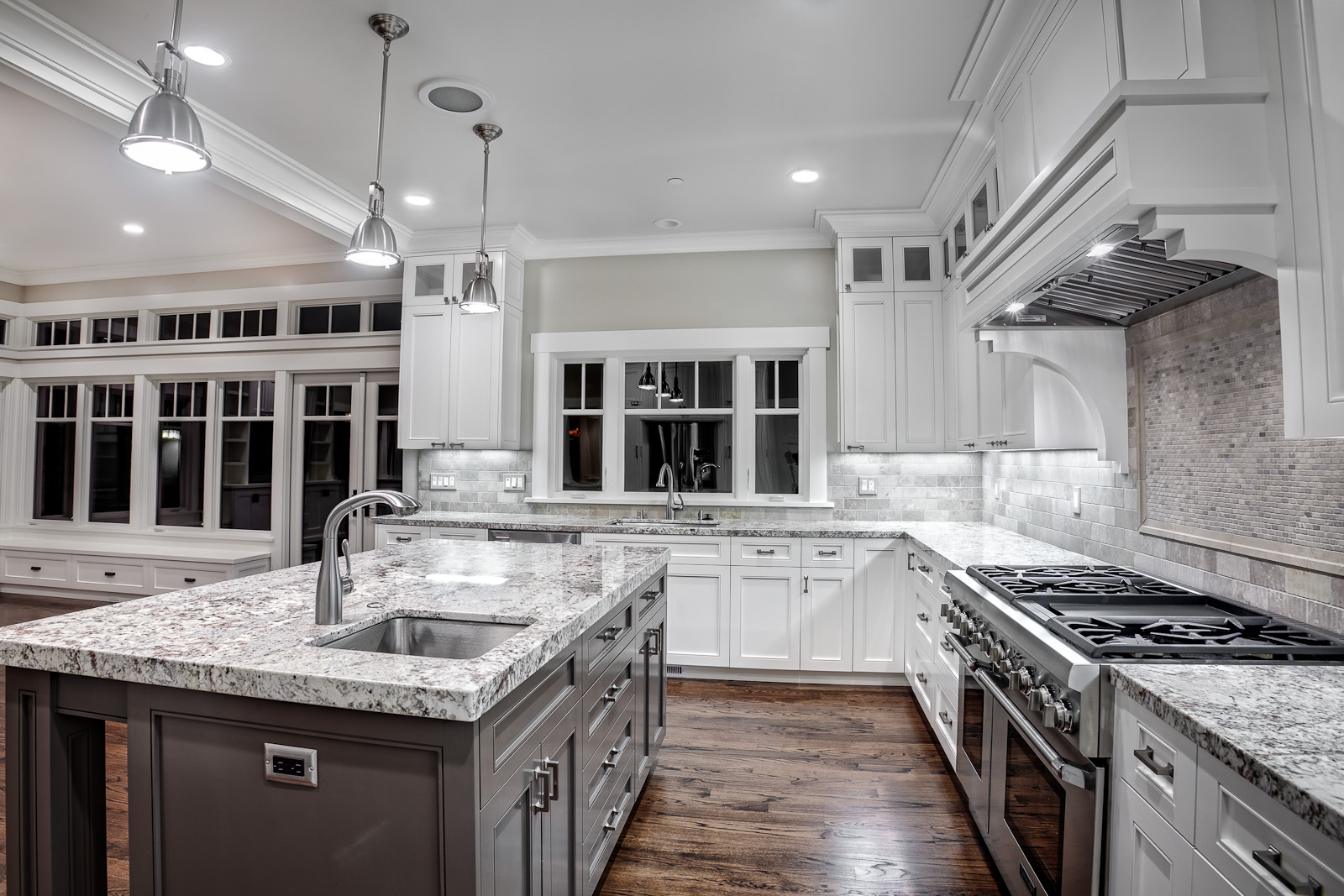 Custom-Cabinets-Kitchen-Island-Granite-Countertop-White-Finish-for-Vintage-Kitch