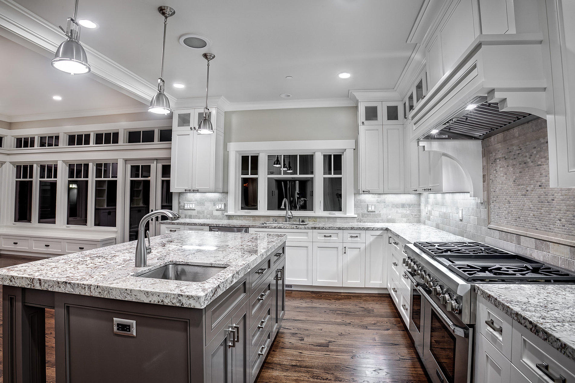 gallery kitchens with white cabinets Custom Cabinets Kitchen Island Granite Countertop White Finish