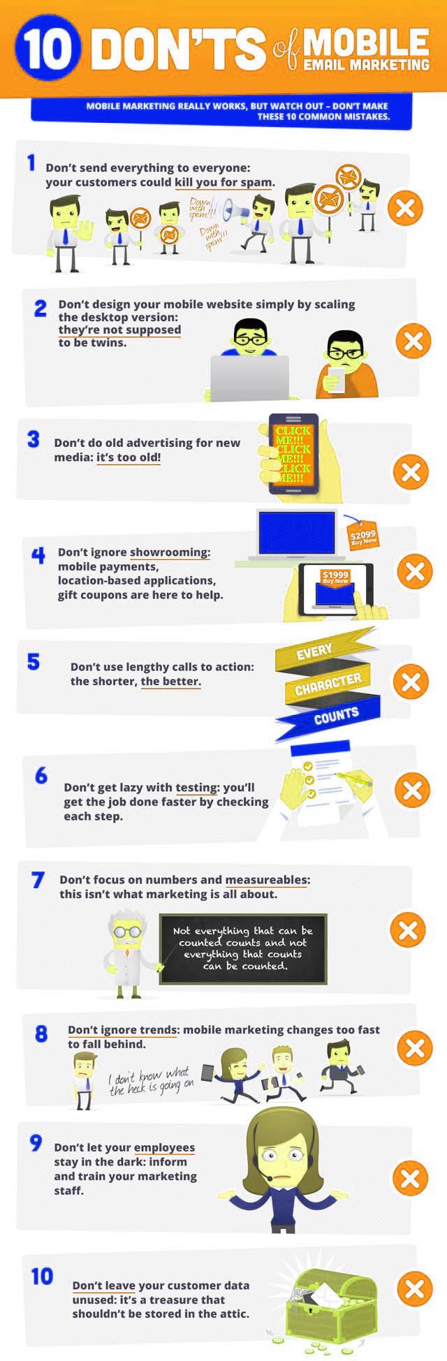10 don'ts van mobile emailmarketing