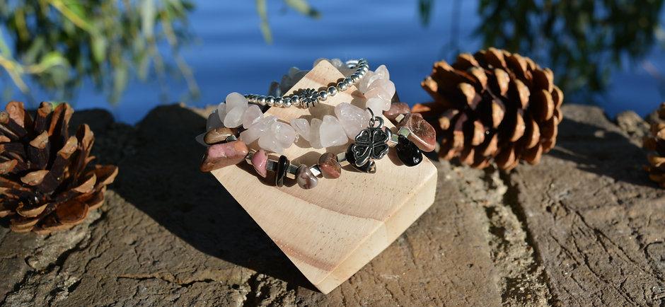 Quartz & Rhodochrosite Bracelet Stack
