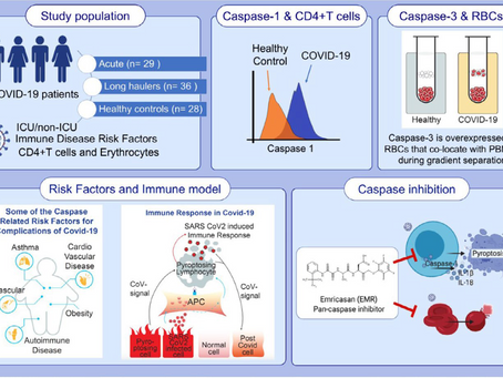 Caspase inhibitor impact on acute and long-haul COVID-19 disease
