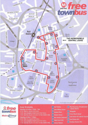 Huddersfield Free Town Bus Route Map