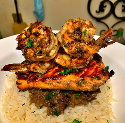 basmati rice topped with eggplant jerk s