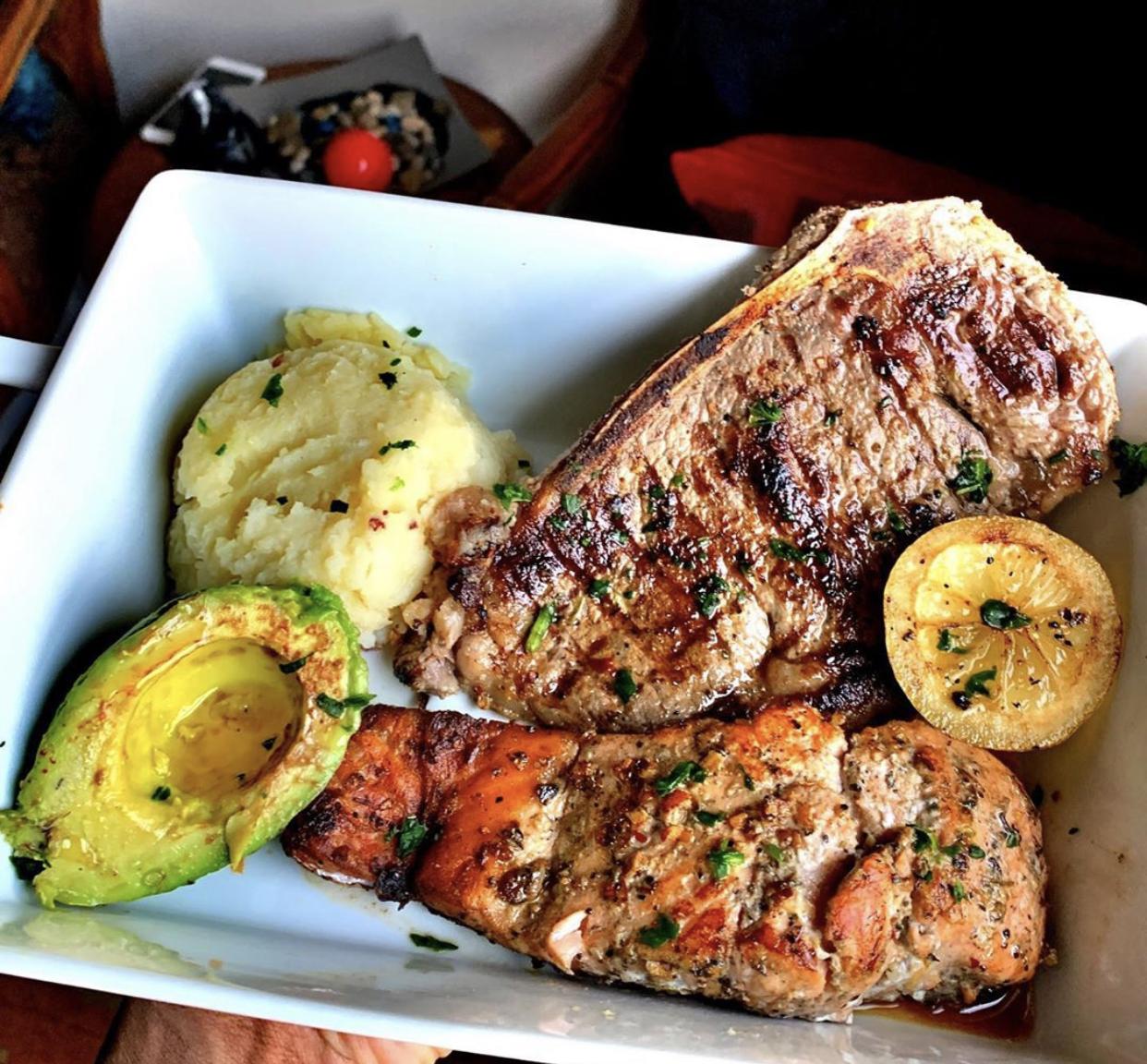 salmon steak mash and avocado
