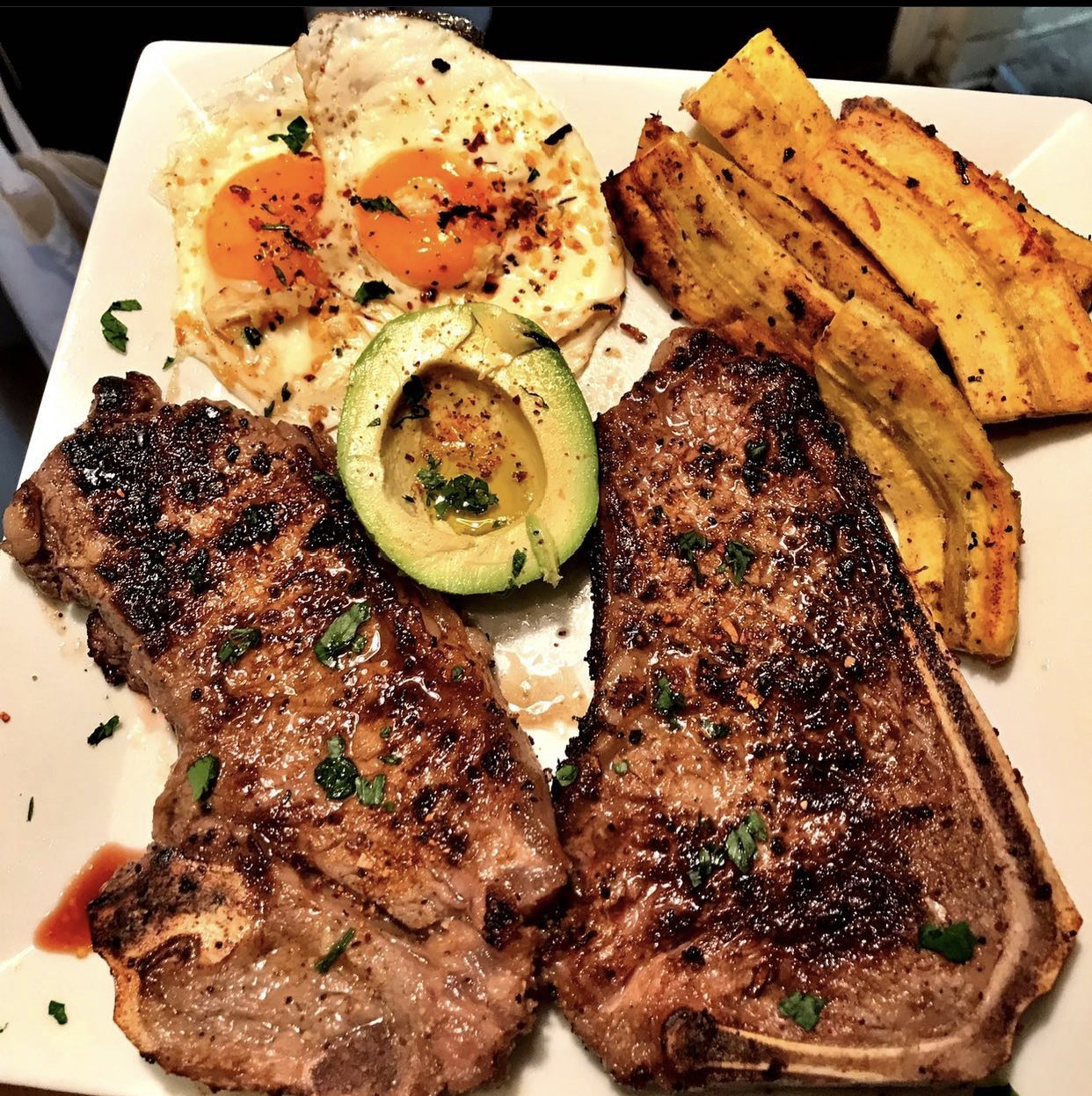 steak eggs avocado plantains