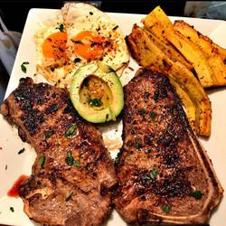 steak eggs avocado plantains