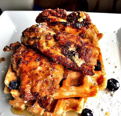 jerk chicken and waffles