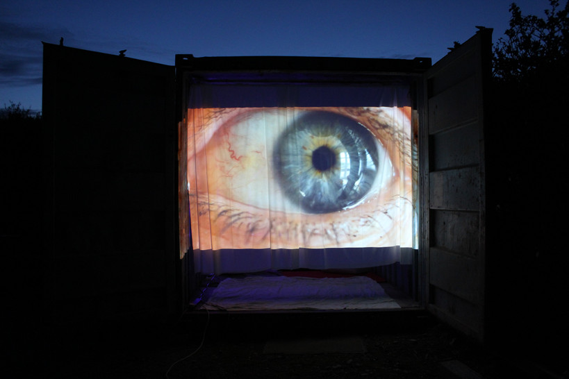 Entrance Eye Projection on White Sheet