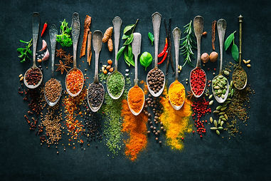 Colourful various herbs and spices for c