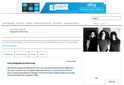ALLMUSIC. Chrome Locust Bio photo.