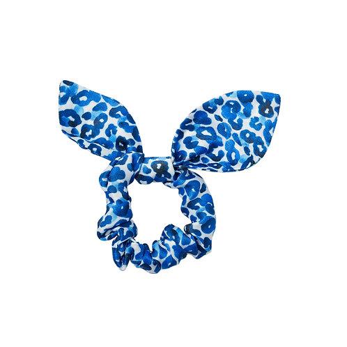 Leopard Jungle Cobalt | Satin Bow Scrunchie
