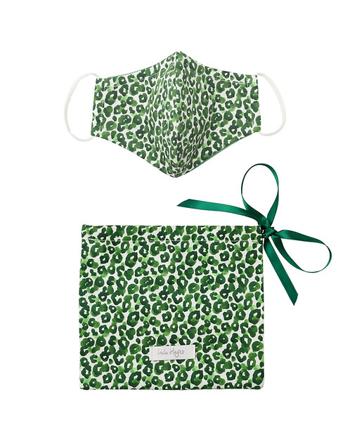 Leopard Jungle Emerald | Face Mask & Ribbon Dust Bag Gift Set