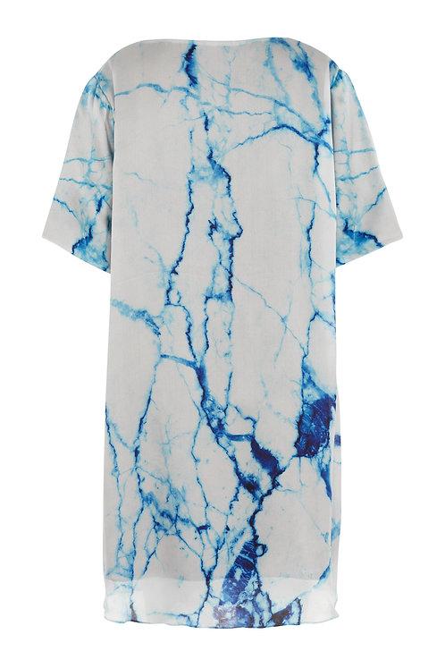 Arctic Marble | Satin Chiffon Tee Dress